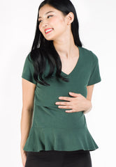Alice Peplum Hem Nursing Shirt in Green  by Jump Eat Cry - Maternity and nursing wear