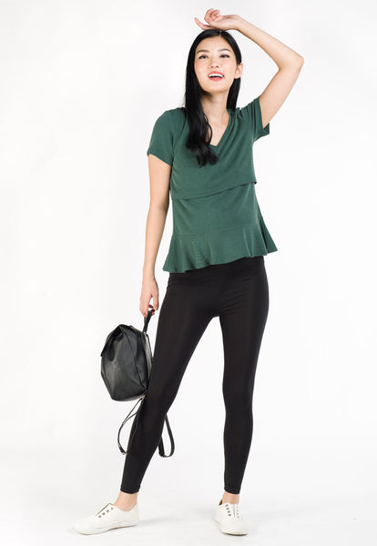 Alice Peplum Hem Nursing Shirt in Green