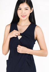 Angela Pockets Nursing Dress in Navy  by Jump Eat Cry - Maternity and nursing wear