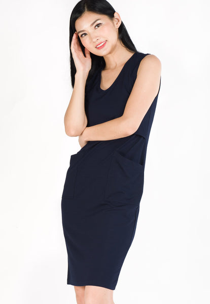 Angela Pockets Nursing Dress in Navy