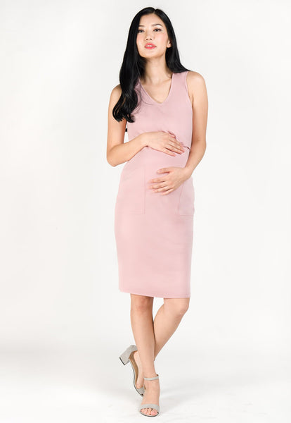 Angela Pockets Nursing Dress in Pink