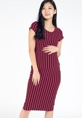 Anna Stripe Bodycon Nursing Dress in Red  by Jump Eat Cry - Maternity and nursing wear