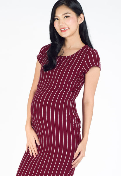 Anna Stripe Bodycon Nursing Dress in Red