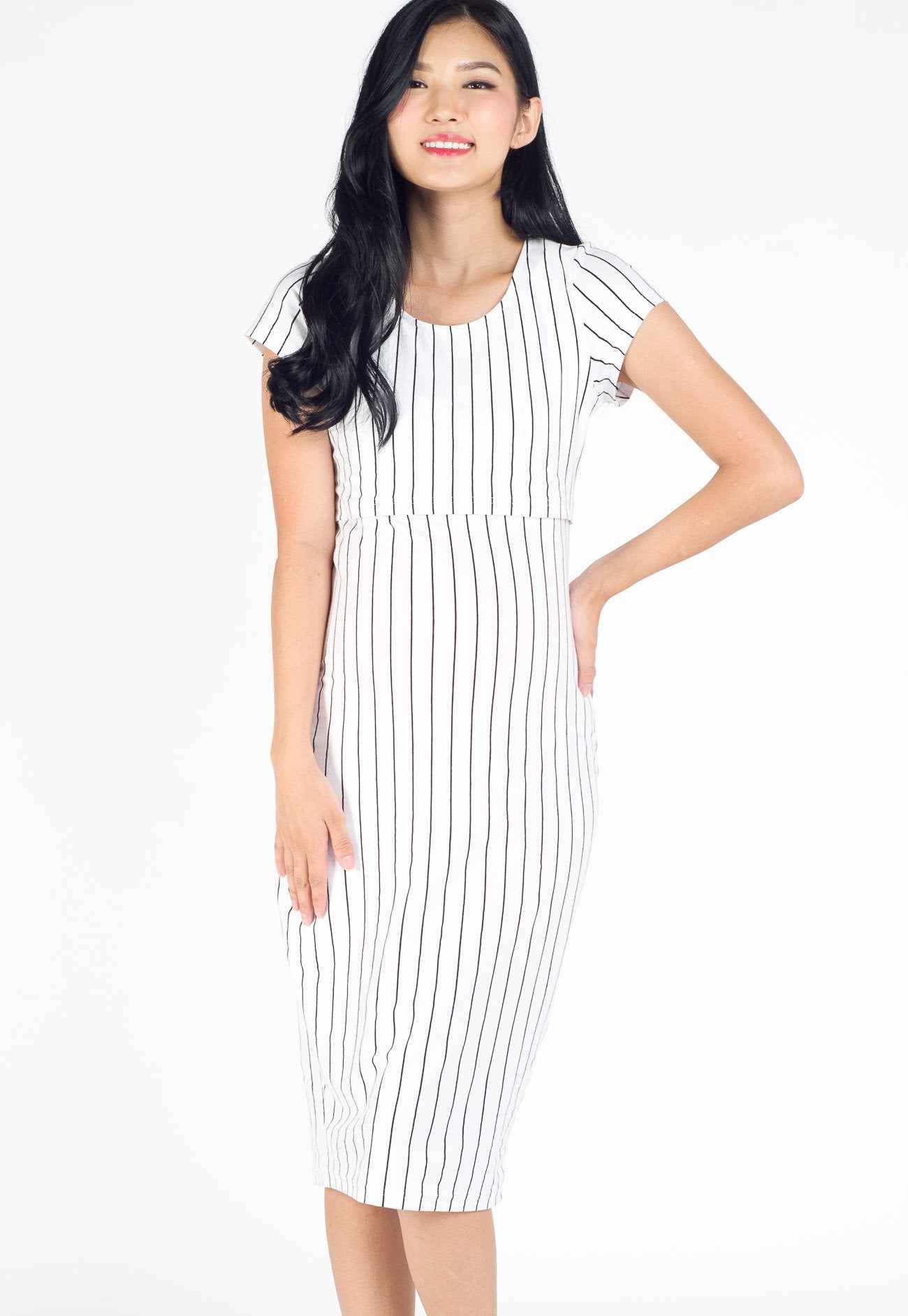 Anna Stripe Bodycon Nursing Dress in White  by Jump Eat Cry - Maternity and nursing wear