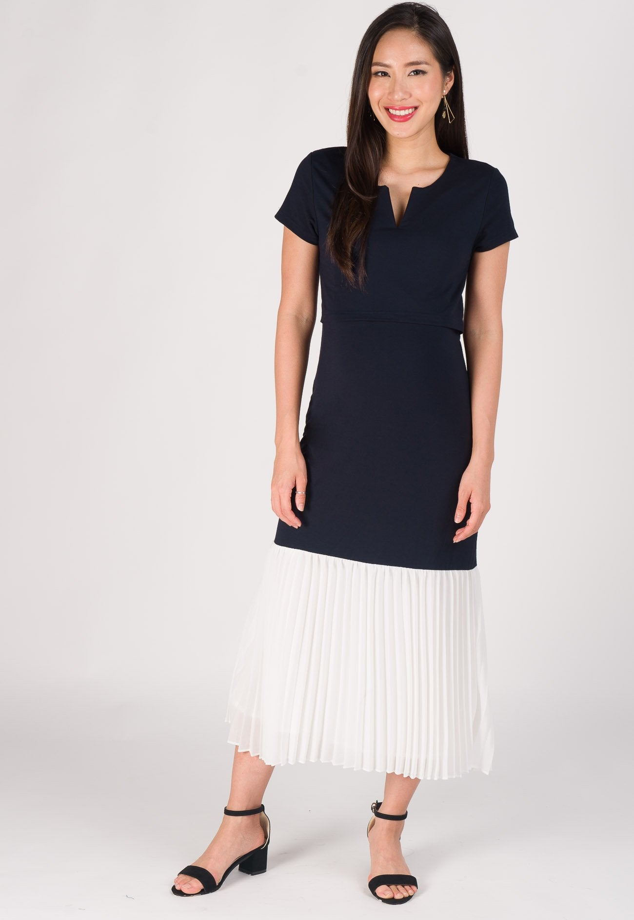 Aria Pleated Nursing Long Dress in Navy  by Jump Eat Cry - Maternity and nursing wear