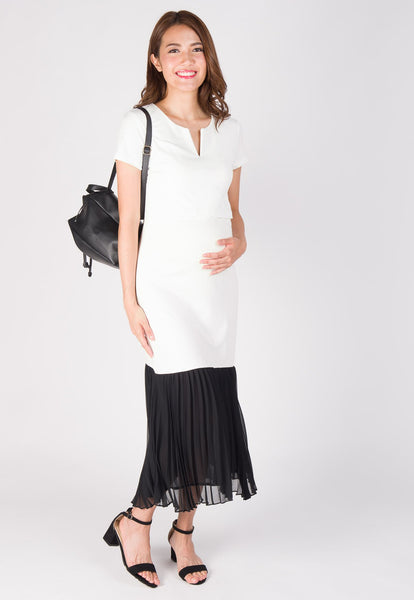 Aria Pleated Nursing Long Dress in White
