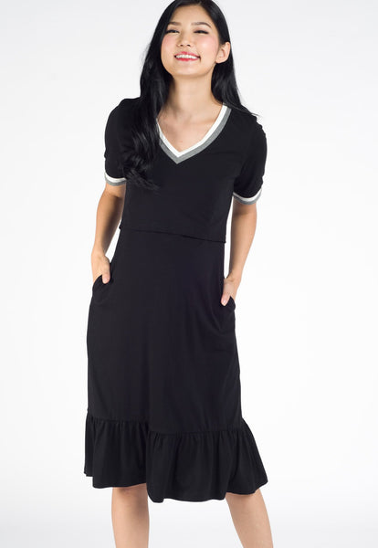 Avery Flared Hem Nursing Dress in Black