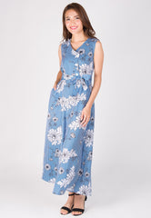 Blue Stripe Floral Print Nursing Jumpsuit  by Jump Eat Cry - Maternity and nursing wear