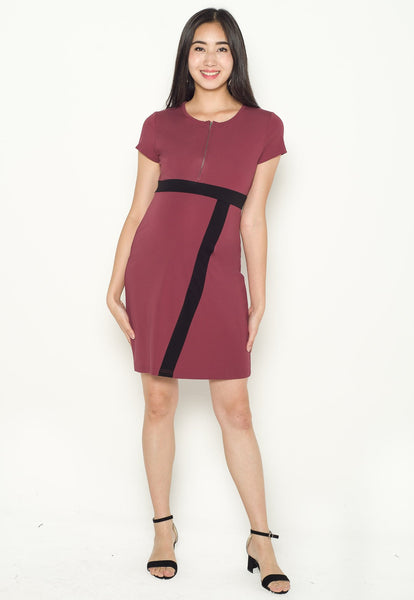 Brenda Colour Block Nursing Dress in Dust Rose