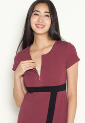 Brenda Color Block Nursing Dress in Dust Rose  by Jump Eat Cry - Maternity and nursing wear
