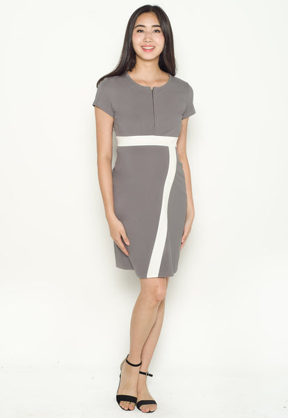 Brenda Colour Block Nursing Dress in Grey