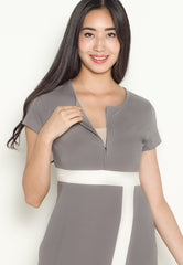 Brenda Color Block Nursing Dress in Grey  by Jump Eat Cry - Maternity and nursing wear