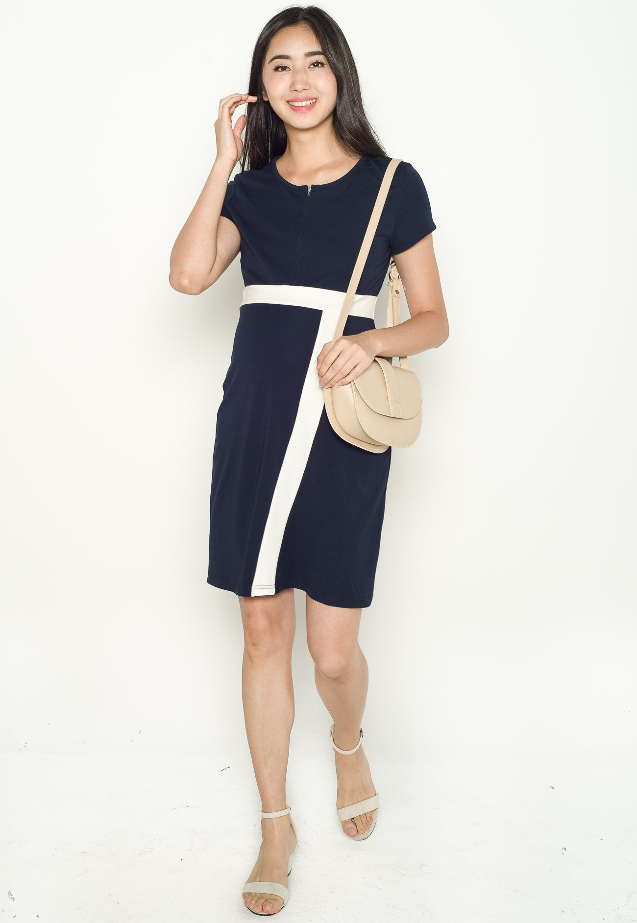 Brenda Color Block Nursing Dress in Navy  by Jump Eat Cry - Maternity and nursing wear
