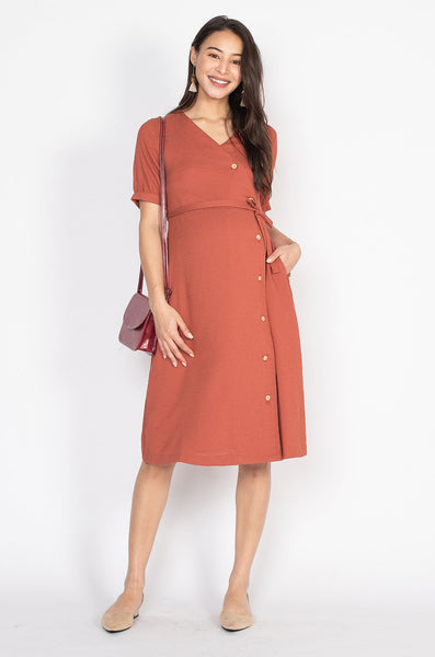 Charlotte Button Down Nursing Dress in Burnt Orange