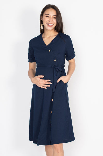 Charlotte Button Down Nursing Dress in Navy