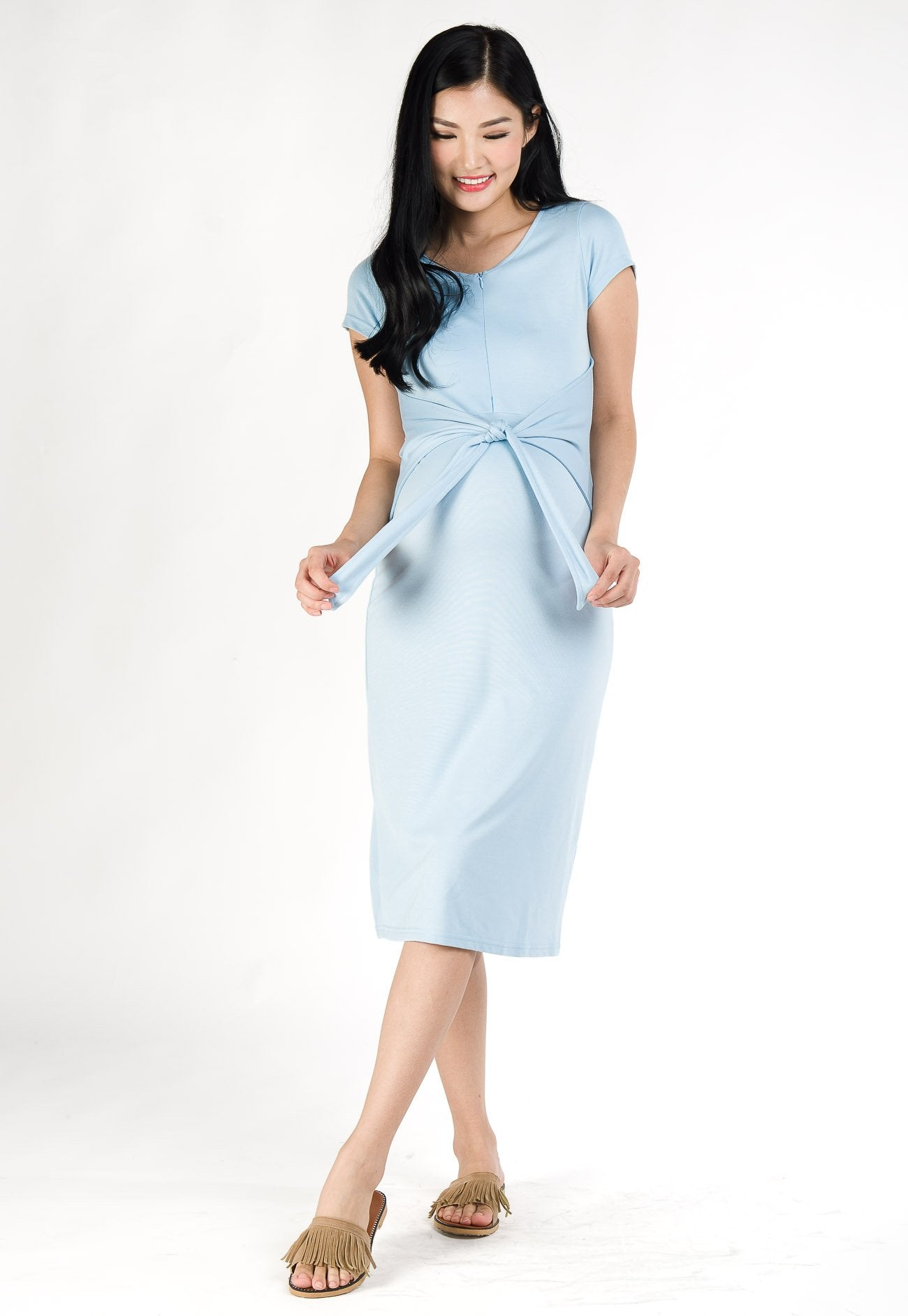Camille Front Tie Nursing Dress in Light Blue  by Jump Eat Cry - Maternity and nursing wear