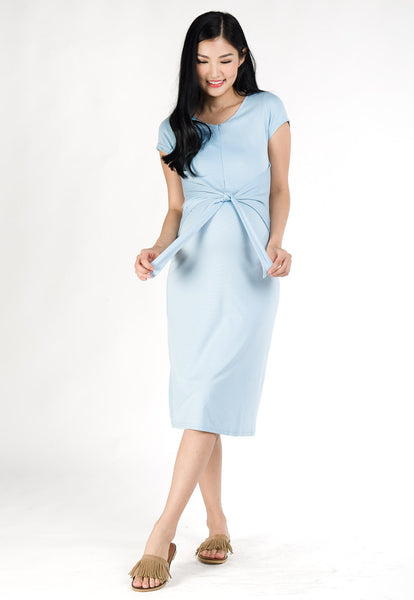 Camille Front Tie Nursing Dress in Light Blue