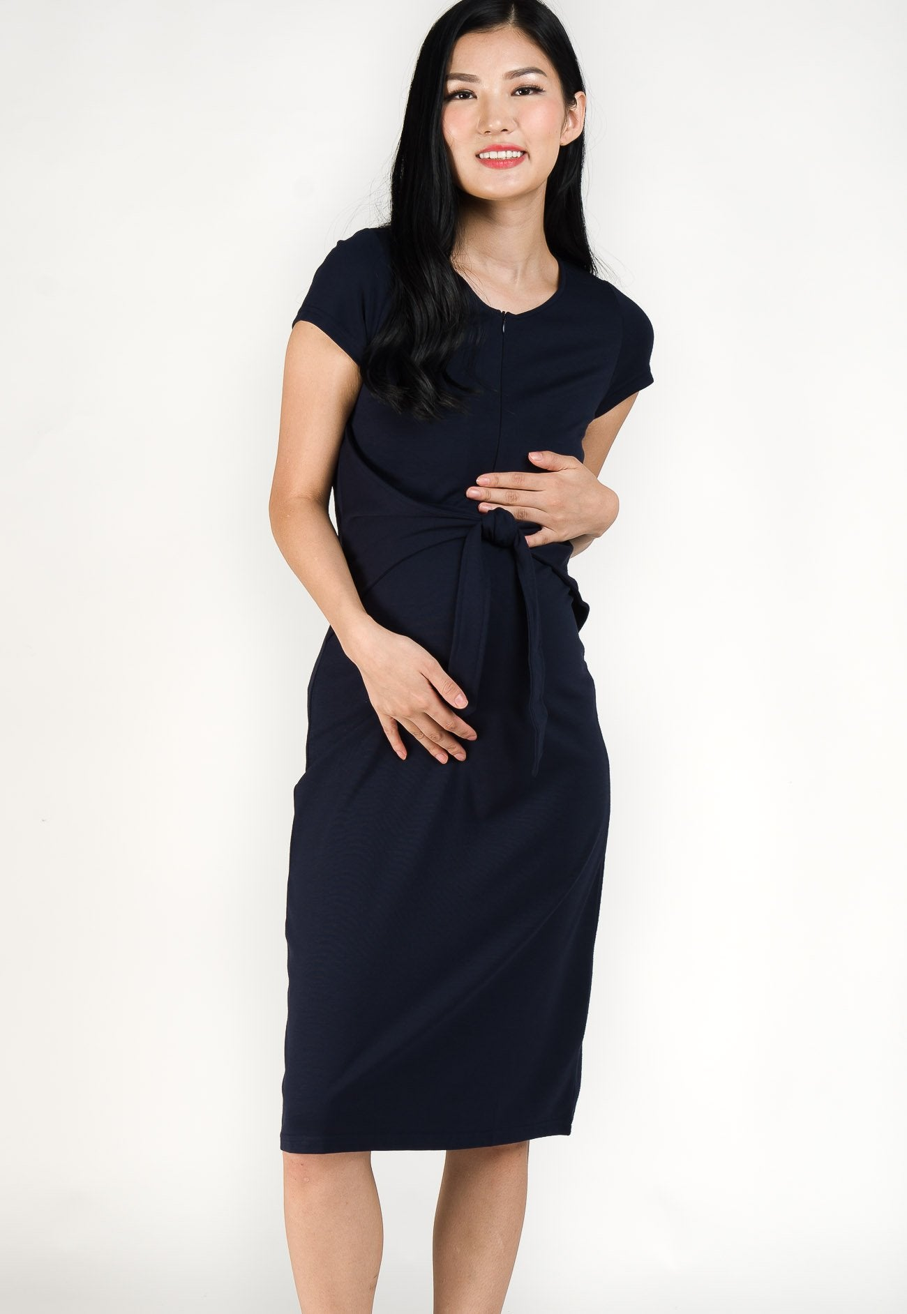 Camille Front Tie Nursing Dress in Navy  by Jump Eat Cry - Maternity and nursing wear