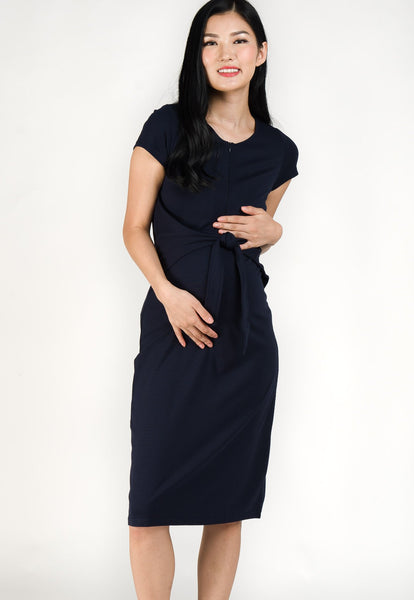 Camille Front Tie Nursing Dress in Navy