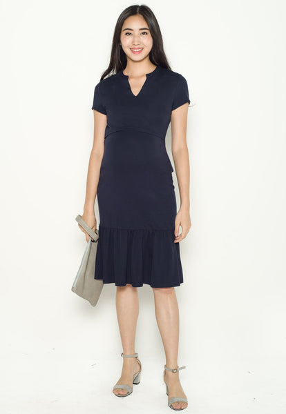 Carla Mermaid Nursing Dress in Navy