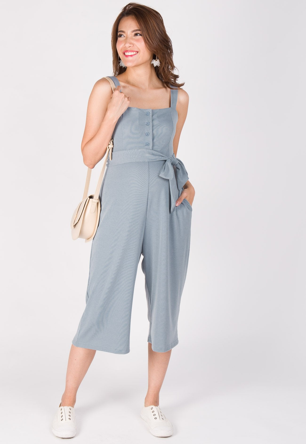 Casual Day Nursing Jumpsuit in Blue  by Jump Eat Cry - Maternity and nursing wear