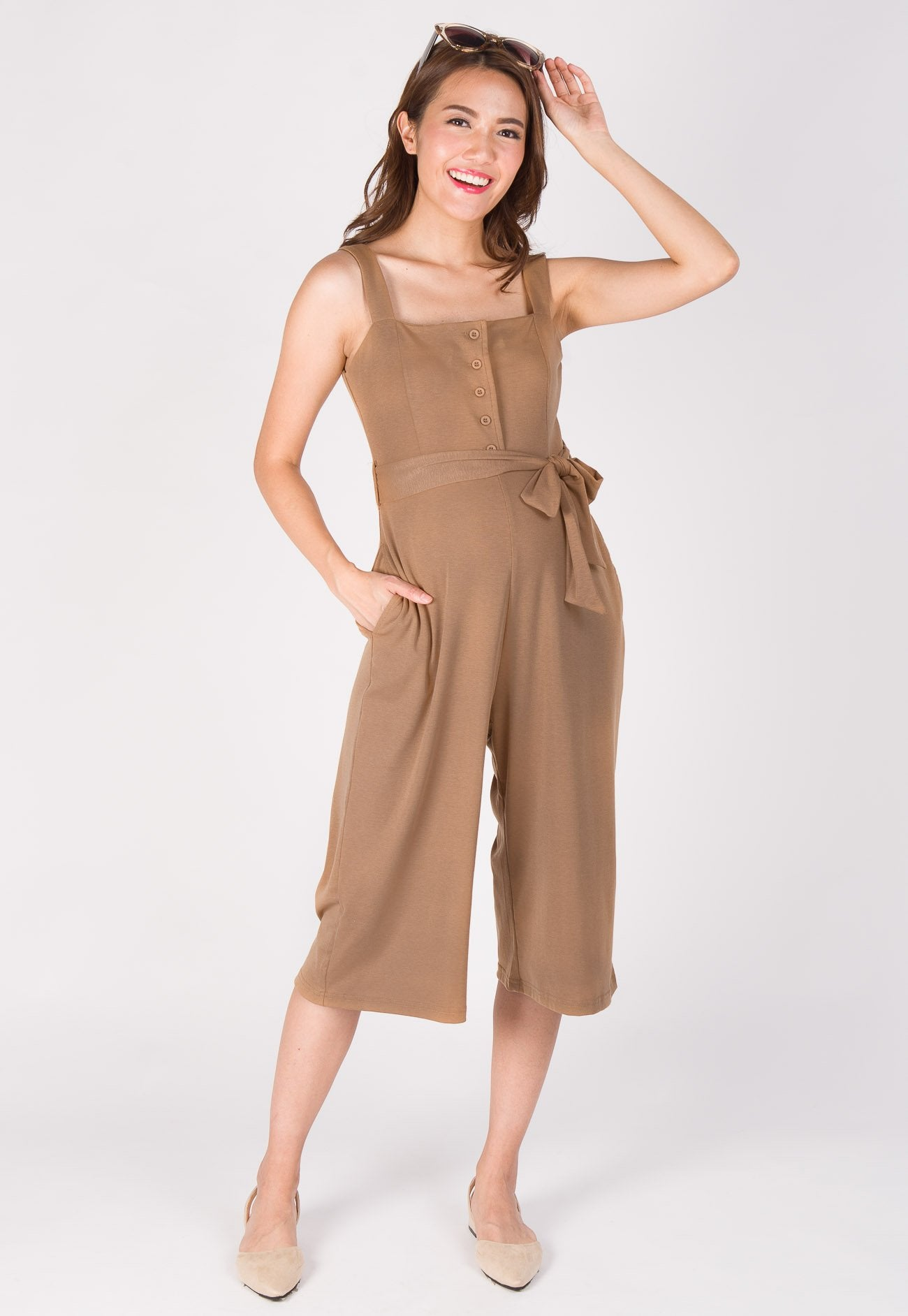 Casual Day Nursing Jumpsuit in Brown  by Jump Eat Cry - Maternity and nursing wear