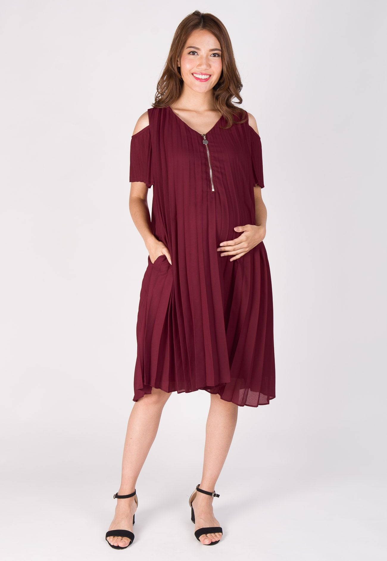 Cold Shoulder Lace Pleated Nursing Dress  by Jump Eat Cry - Maternity and nursing wear