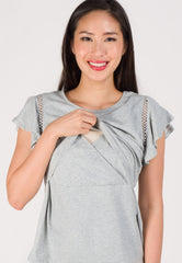 Crochet Ruffled Sleeve Nursing Top in Grey  by Jump Eat Cry - Maternity and nursing wear