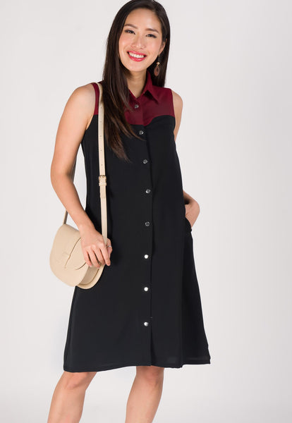 Curve Detailed Nursing Shirt Dress in Black