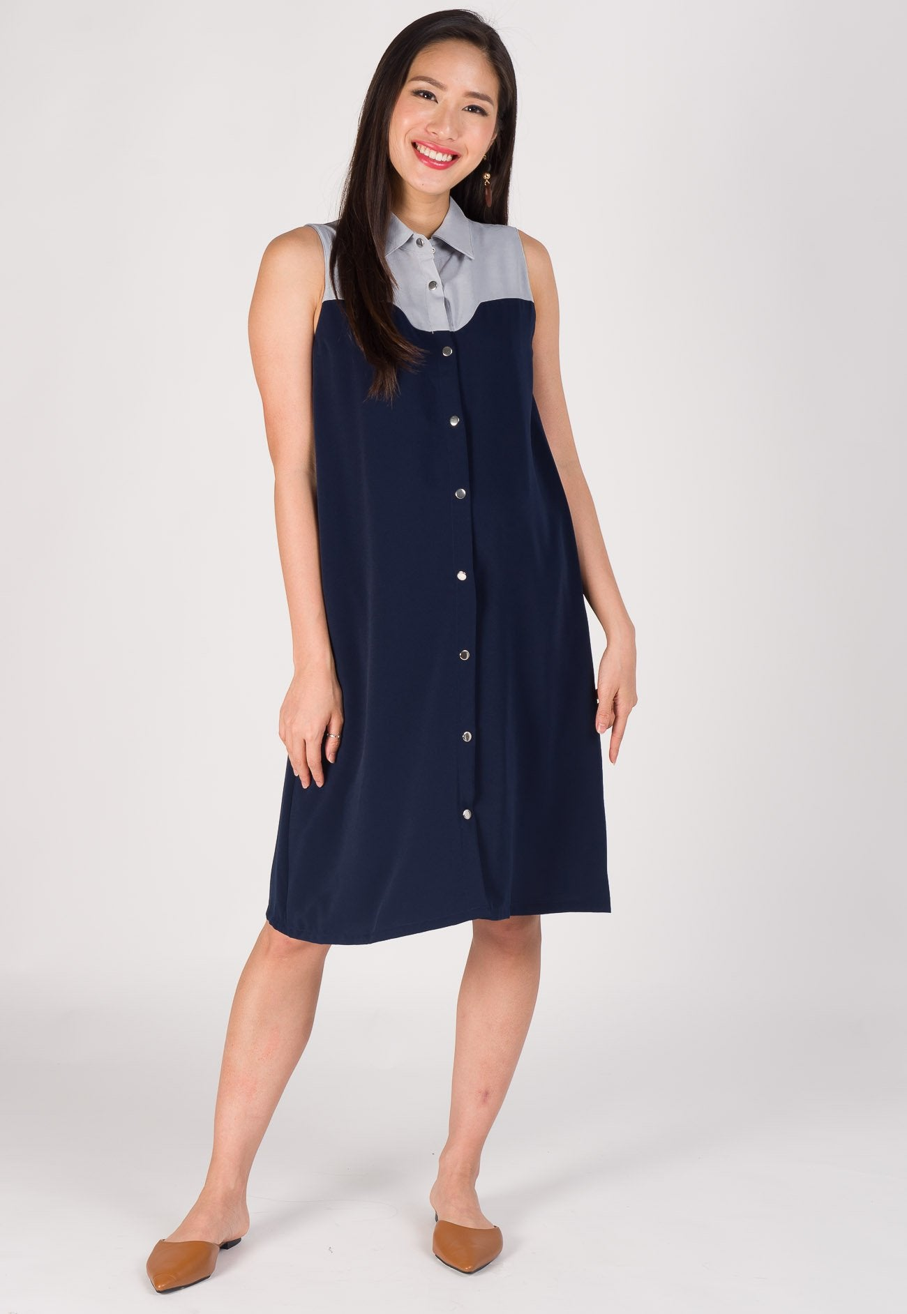 Curve Detailed Nursing Shirt Dress in Navy  by Jump Eat Cry - Maternity and nursing wear