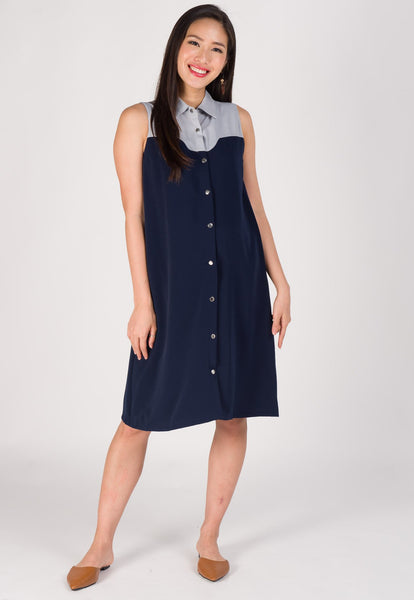 Curve Detailed Nursing Shirt Dress in Navy