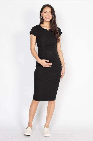 Emery Bodycon Nursing Dress in Black