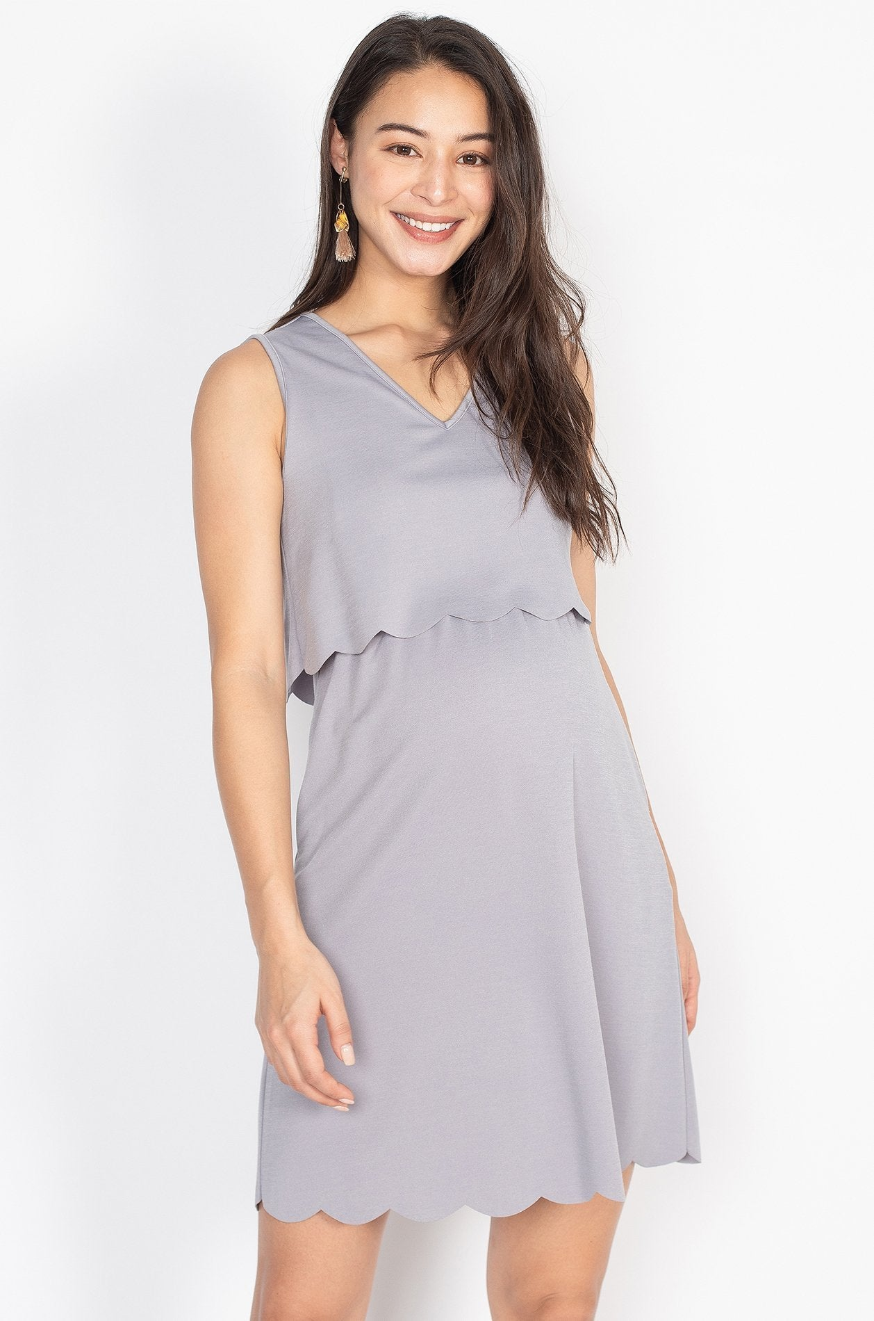 Elina Scallop Overlay Top Nursing Dress in Light Grey  by Jump Eat Cry - Maternity and nursing wear
