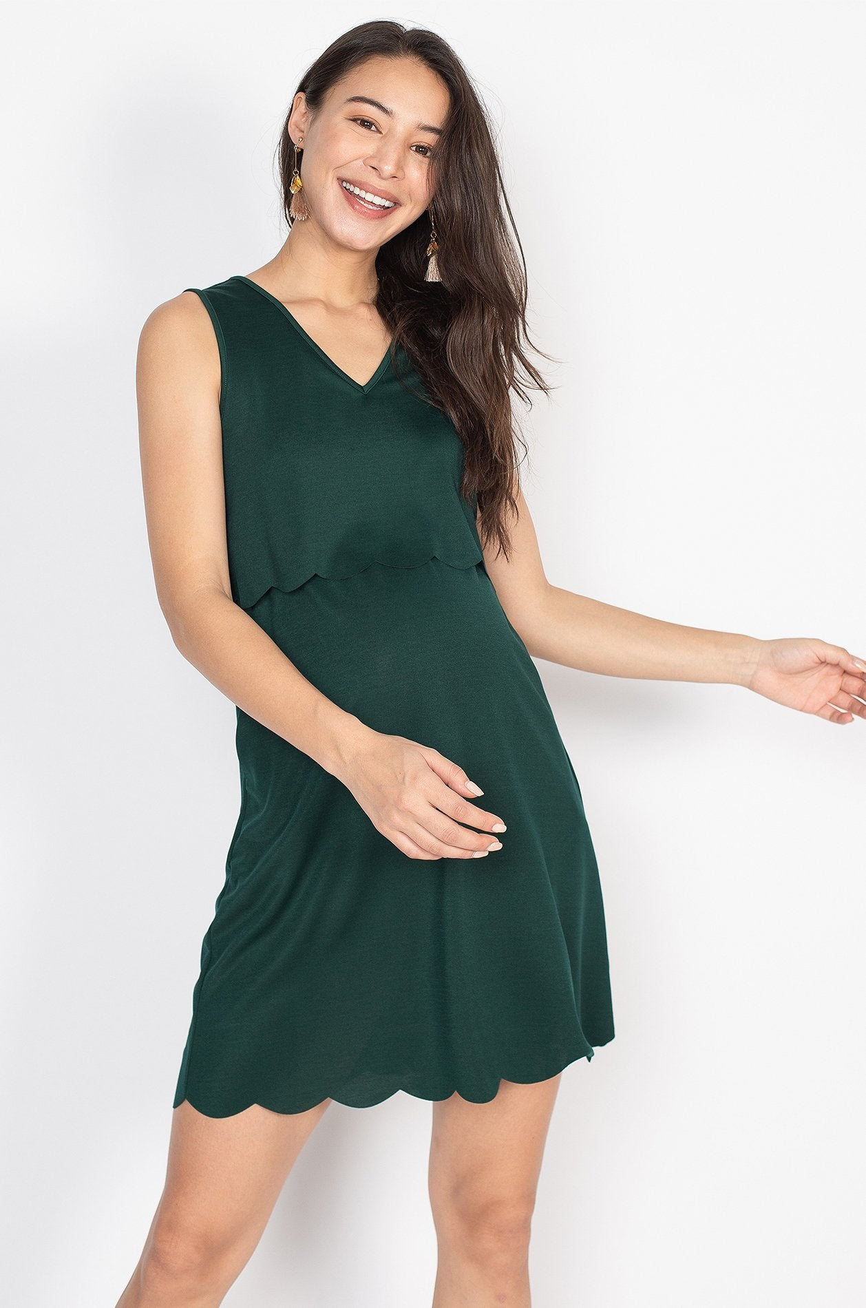 Elina Scallop Overlay Top Nursing Dress in Forest Green  by Jump Eat Cry - Maternity and nursing wear