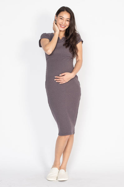 Emery Bodycon Nursing Dress in Dark Grey
