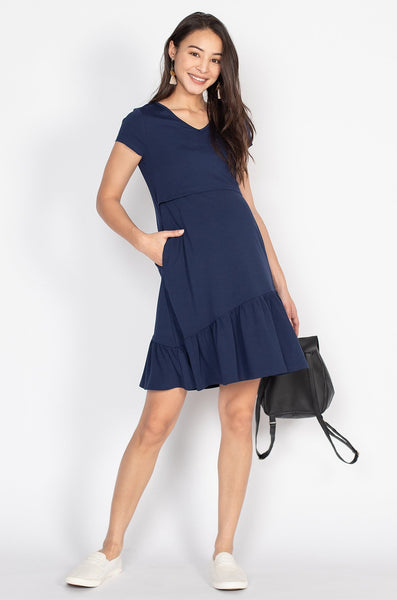 Eden Symmetric Hem Nursing Dress in Blue