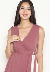 Ellie Belted Nursing Dress in Dust Pink  by Jump Eat Cry - Maternity and nursing wear
