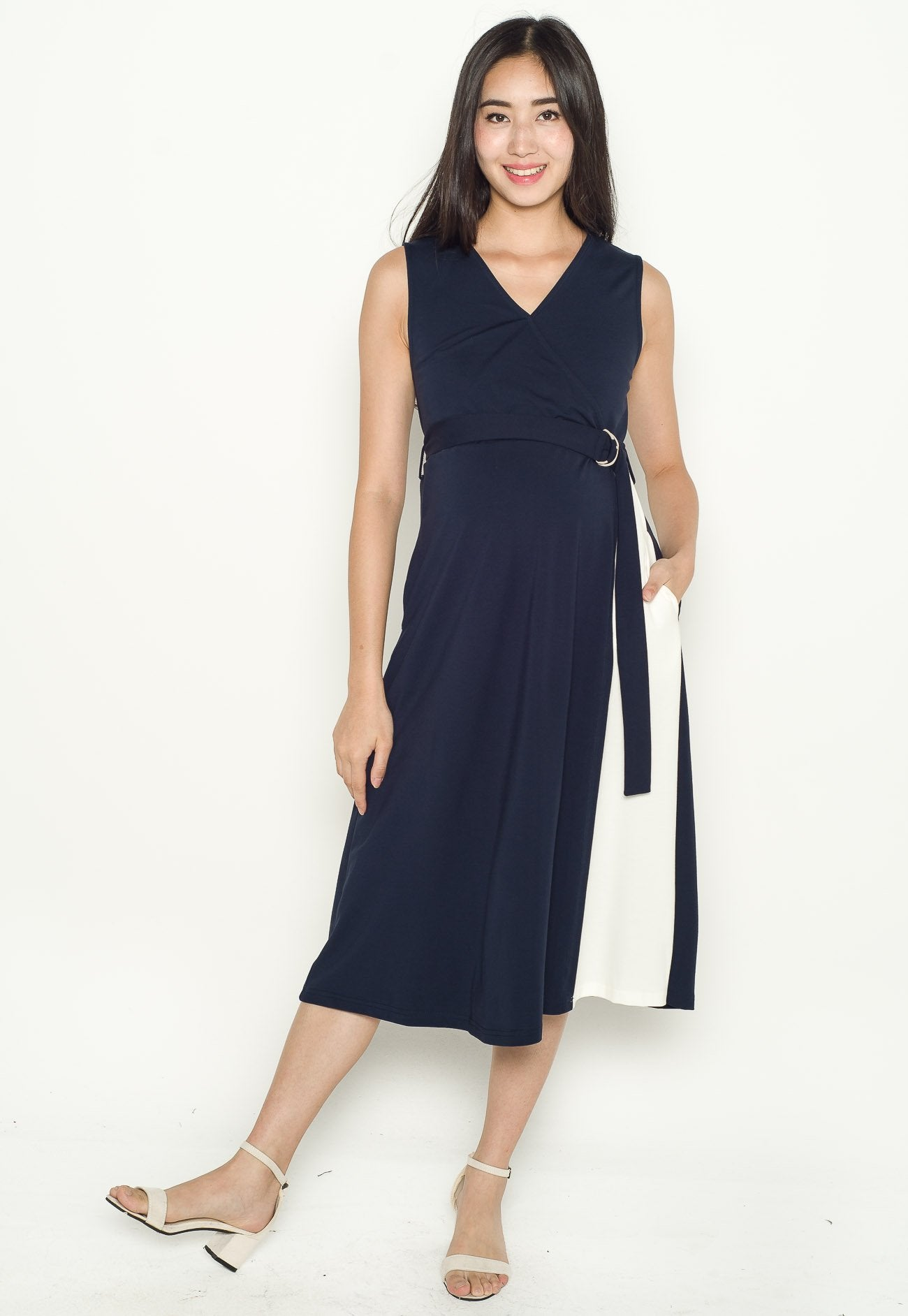 Ellie Belted Nursing Dress in Navy  by Jump Eat Cry - Maternity and nursing wear