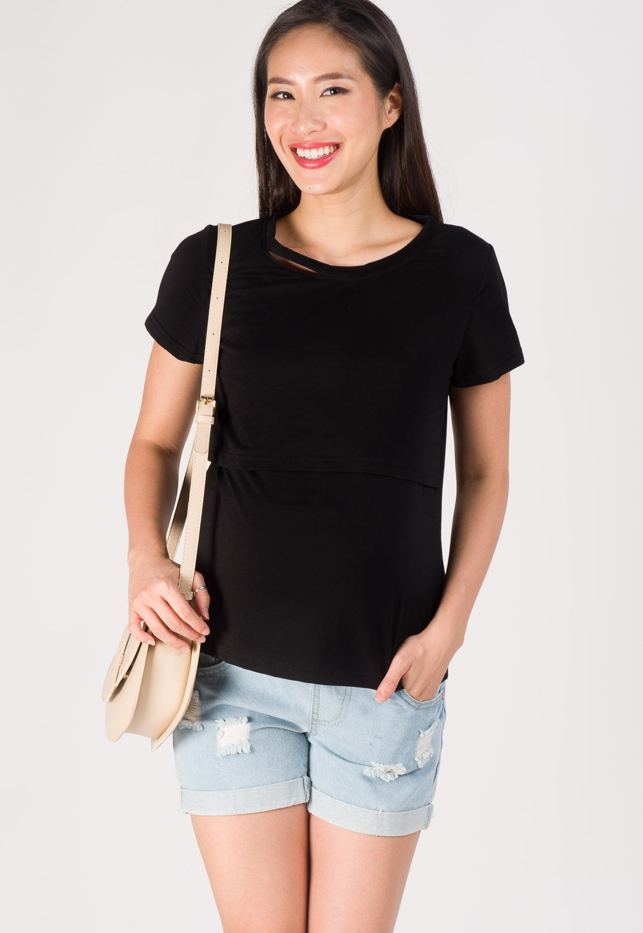 Embellished Neckline Comfy Nursing Top in Black Nursing Wear Mothercot