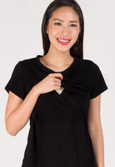 Embellished Neckline Comfy Nursing Top in Black  by Jump Eat Cry - Maternity and nursing wear