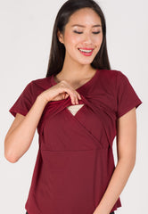 Embellished Neckline Comfy Nursing Top in Red  by Jump Eat Cry - Maternity and nursing wear