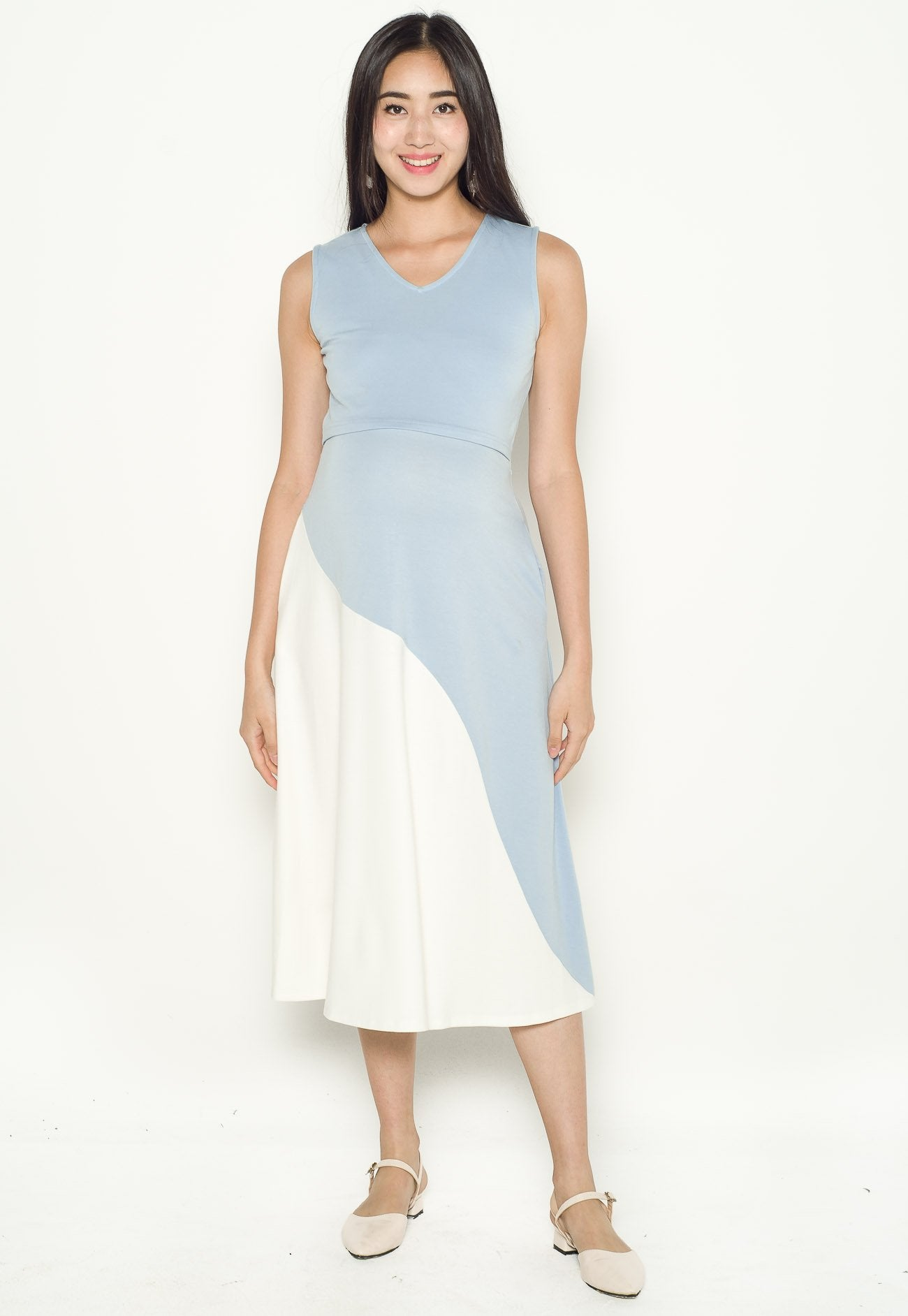 Evie Curved Overlay Nursing Dress in Blue  by Jump Eat Cry - Maternity and nursing wear