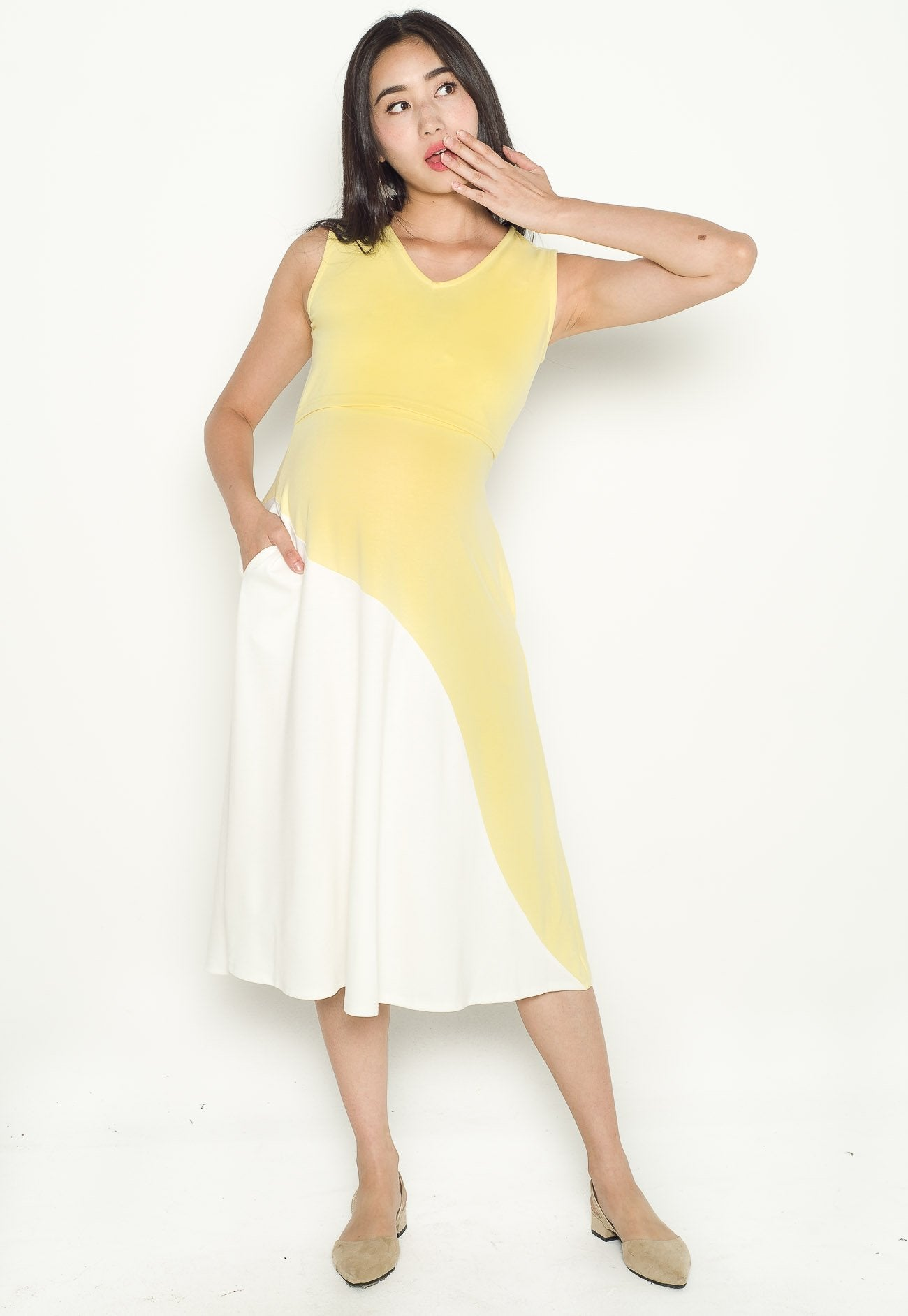 Evie Curved Overlay Nursing Dress in Yellow  by Jump Eat Cry - Maternity and nursing wear