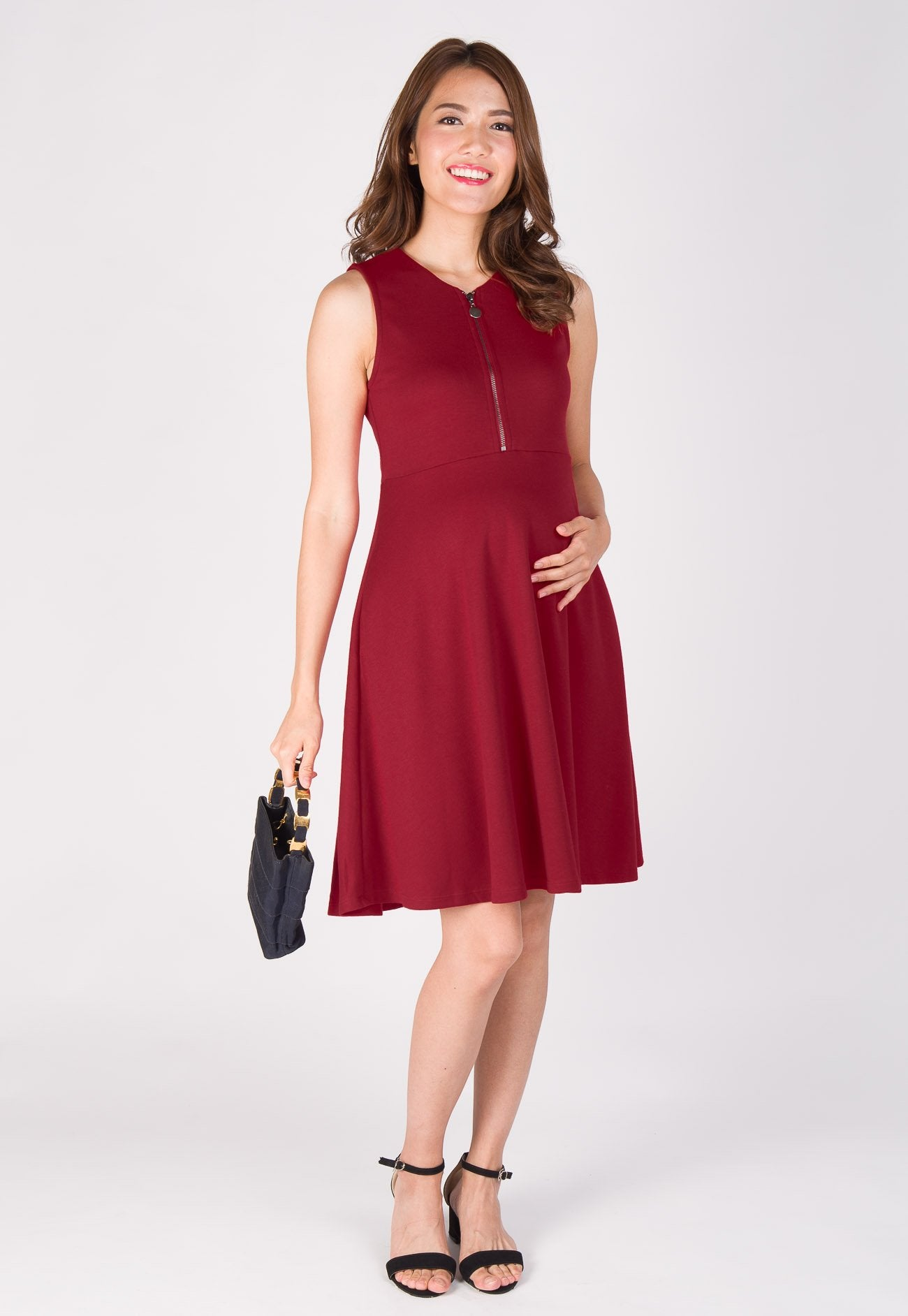 Fit and Flair Front Zip Nursing Dress in Red  by Jump Eat Cry - Maternity and nursing wear