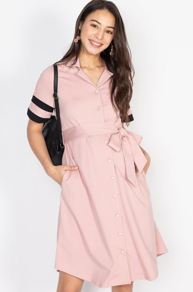 Hanna Striped Hem Nursing Dress in Pink