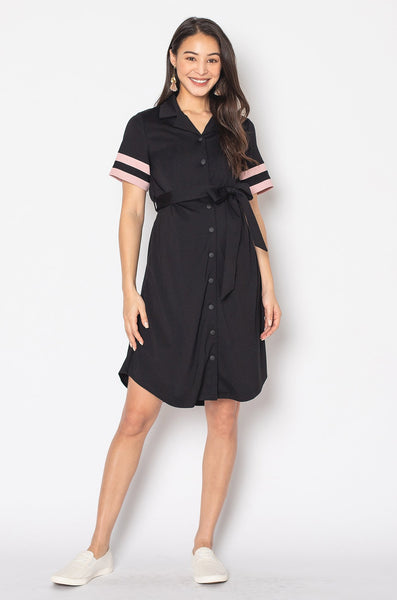 Hanna Striped Hem Nursing Dress in Black