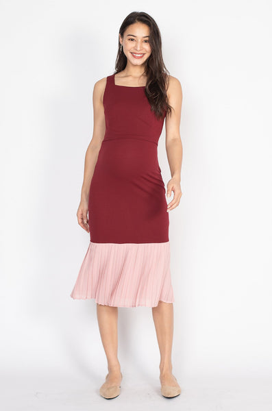 Haley Bodycon Pleated Hem Nursing Dress in Maroon