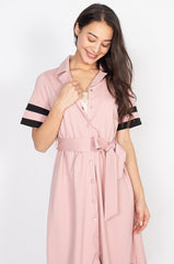 Hanna Striped Hem Nursing Dress in Pink  by Jump Eat Cry - Maternity and nursing wear