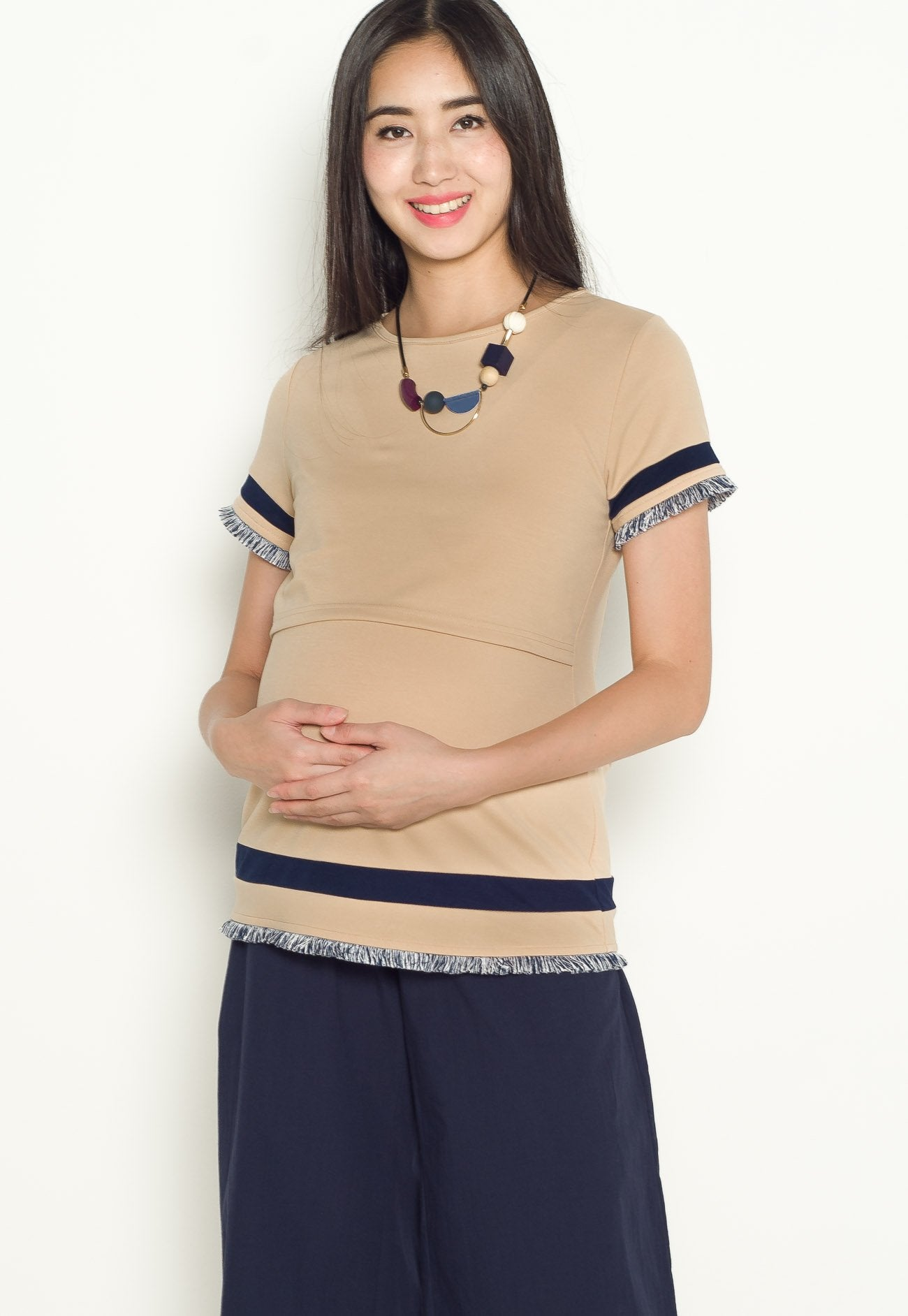 Hana Frills Nursing Top in Beige  by Jump Eat Cry - Maternity and nursing wear