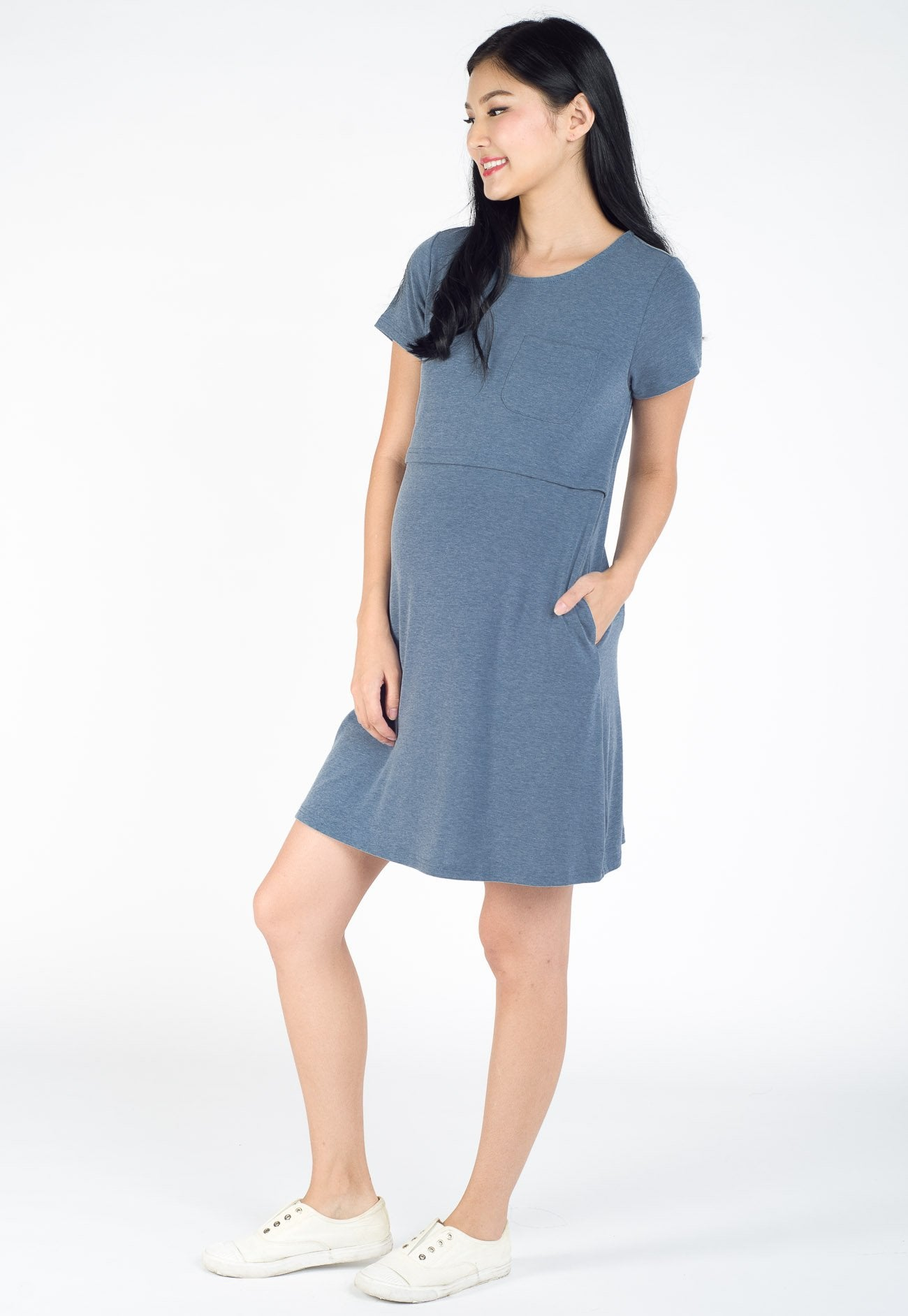 Hazel T-Shirt Nursing Dress in Blue  by Jump Eat Cry - Maternity and nursing wear